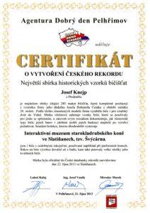 Certifikát o vytvoření českého rekordu-bičiště