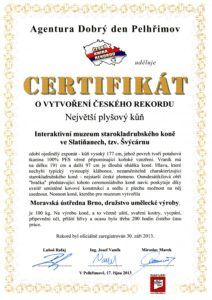 Certifikát o vytvoření českého rekordu-kůň